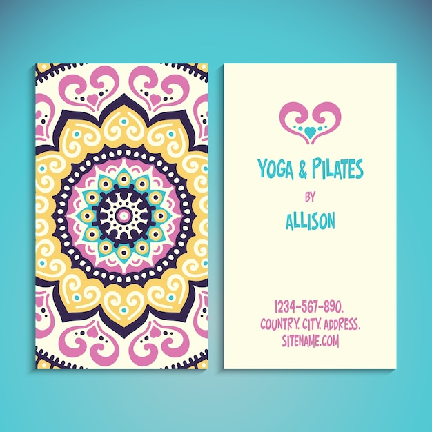 Cute business card for yoga teacher vector free download cute business card for yoga teacher free vector reheart Images