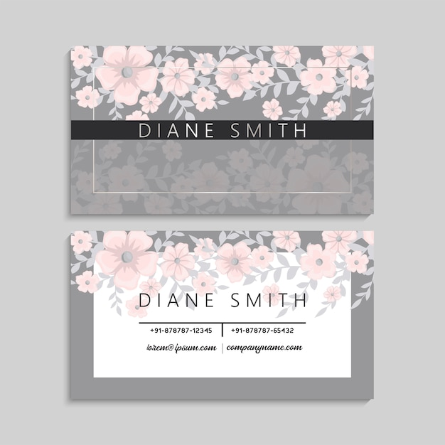 Cute business card with beautiful light pink flowers Free Vector