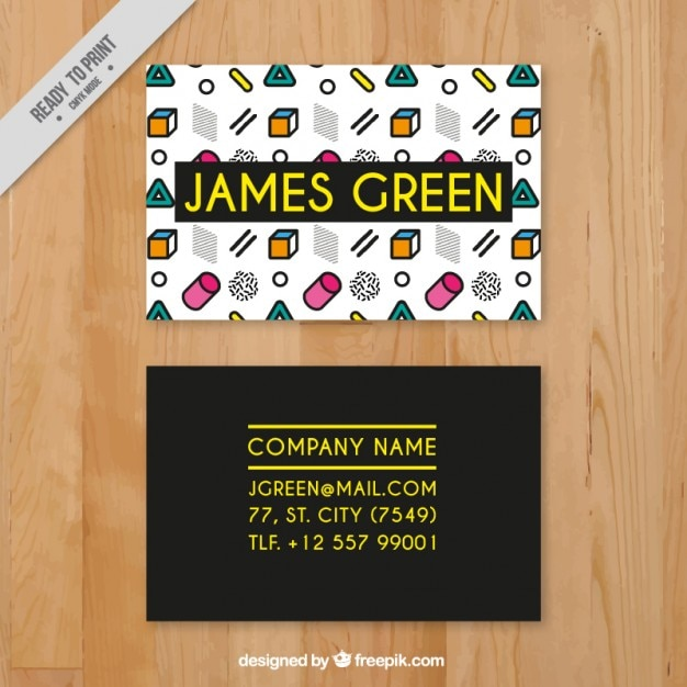 Cute Business Card With Coloured Shapes Vector Free Download