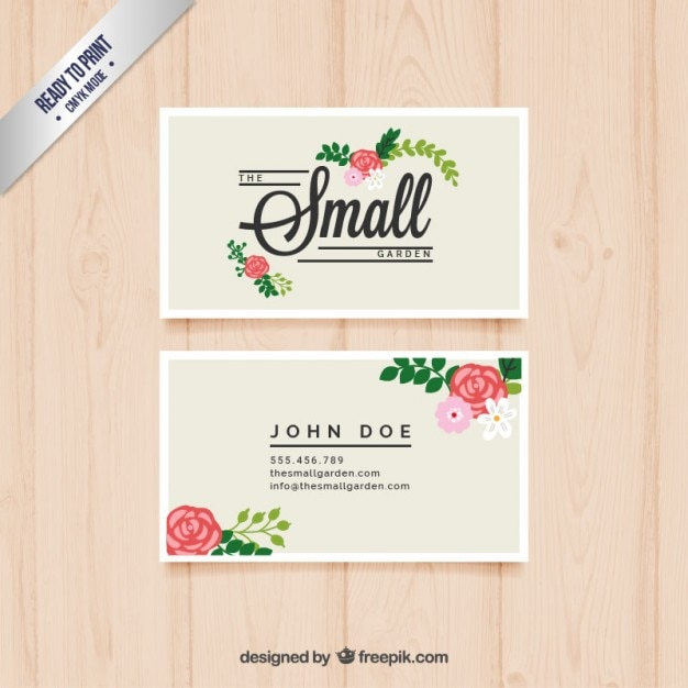 Cute business card with flowers Vector