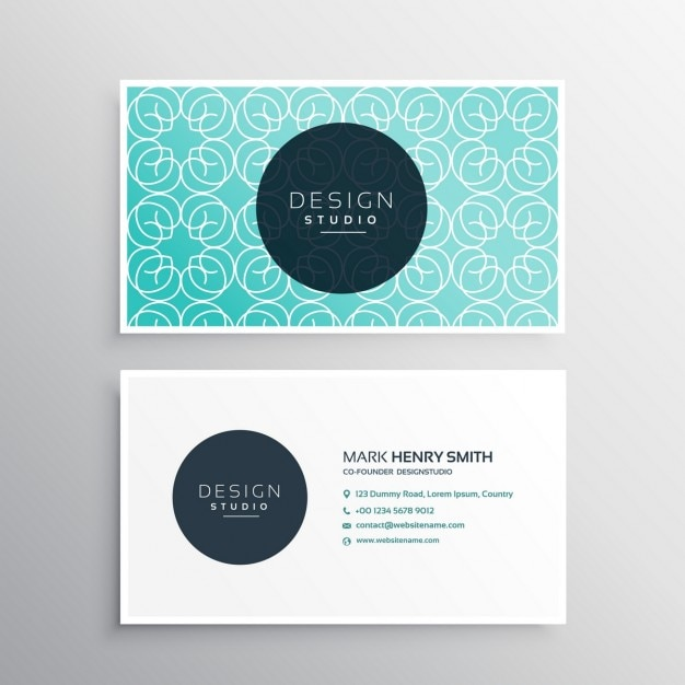 Cute Business Card With A Light Blue Pattern Vector Free Download