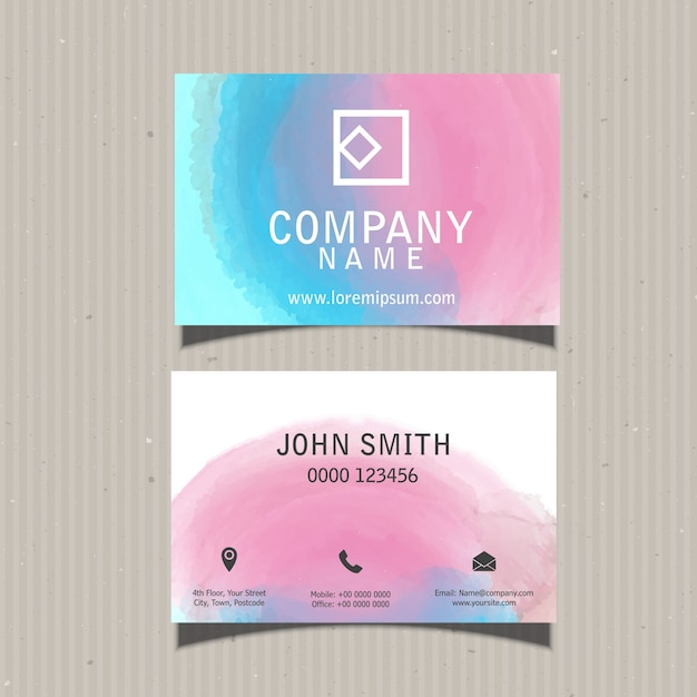Cute Business Card With Watercolors Vector Free Download