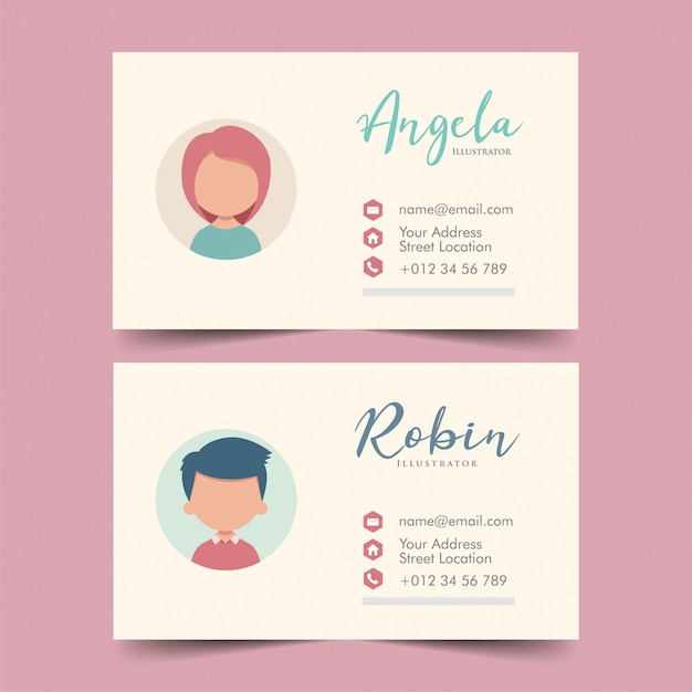 Cute business cards template vector illustration vector premium cute business cards template vector illustration premium vector fbccfo Gallery