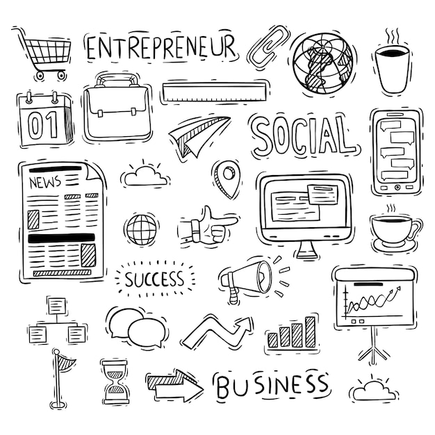 Cute business icons collection with doodle style Premium Vector