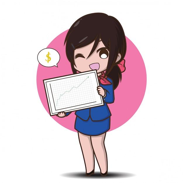 Cute business woman cartoon., job concept. Premium Vector