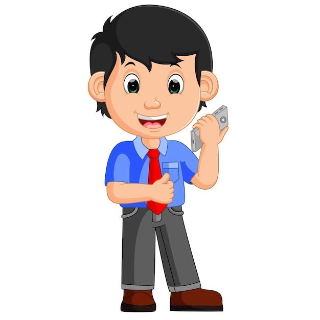 Cute businessman cartoon Premium Vector