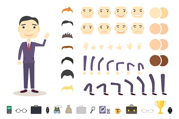 Cute businessman character creation set. build your own design. Premium Vector