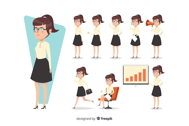 Cute businesswoman doing different\ actions