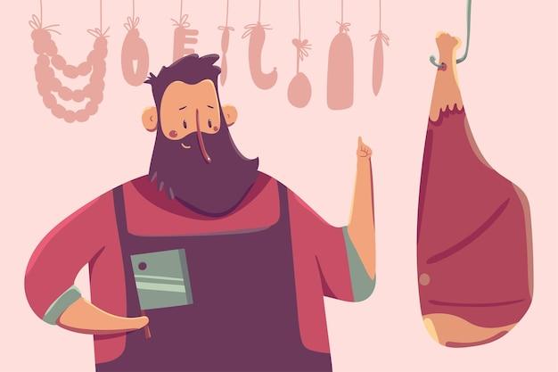배경에 고립 된 고기 만화 캐릭터와 함께 귀여운 정육점. 프리미엄 벡터