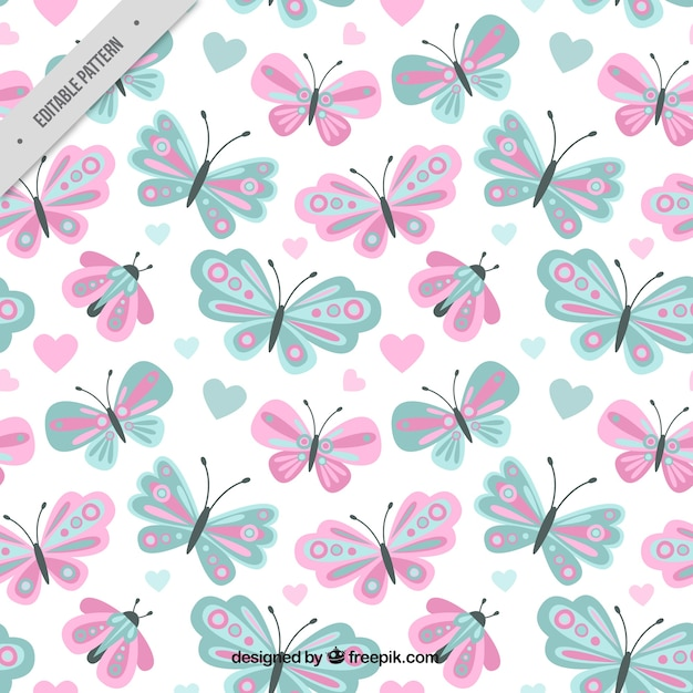 Cute Butterfly Pattern In Pastel Colors Vector Free Download Simple Butterfly Pattern