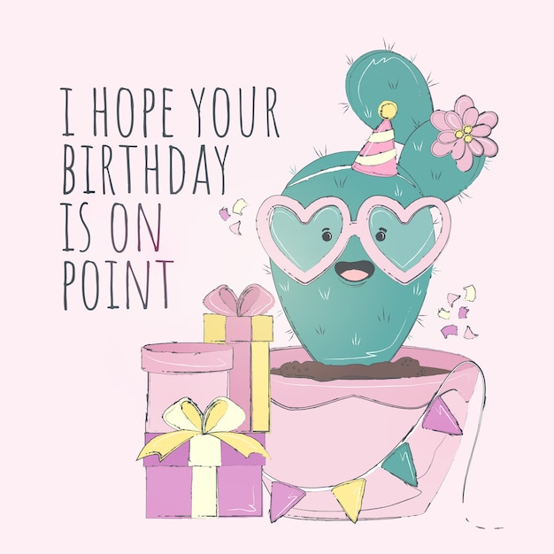 Cute cactus happy birthday card Premium Vector