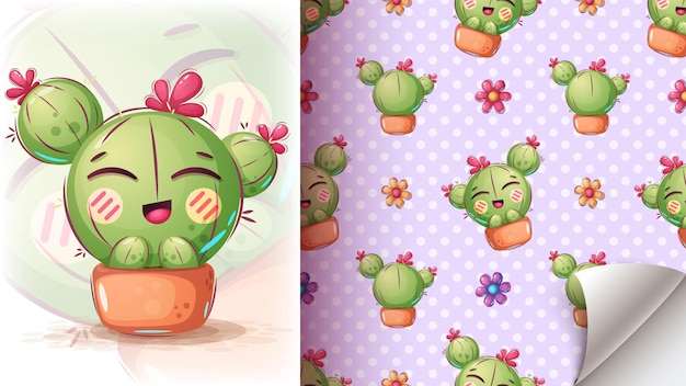 Cute cactus illustration - seamless pattern Free Vector