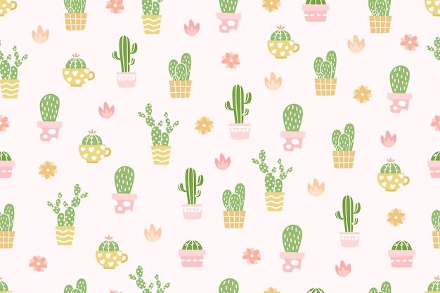 Premium Vector Cute Cactus Pattern Background