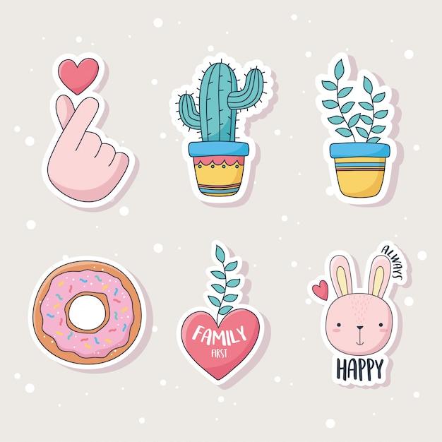 카드 스티커 또는 패치 장식 만화 귀여운 선인장 식물 토끼 도넛과 심장 물건 프리미엄 벡터