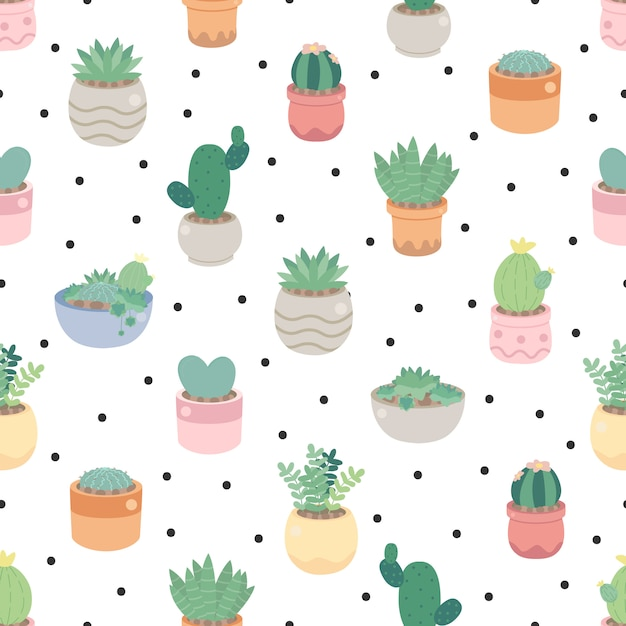 Cute cactus and succulent on dot seamless pattern eps10 vectors illustration Premium Vector