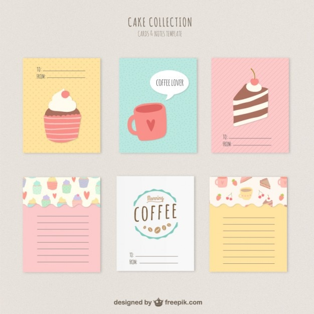 Cute Cakes And Coffee Cards Vector