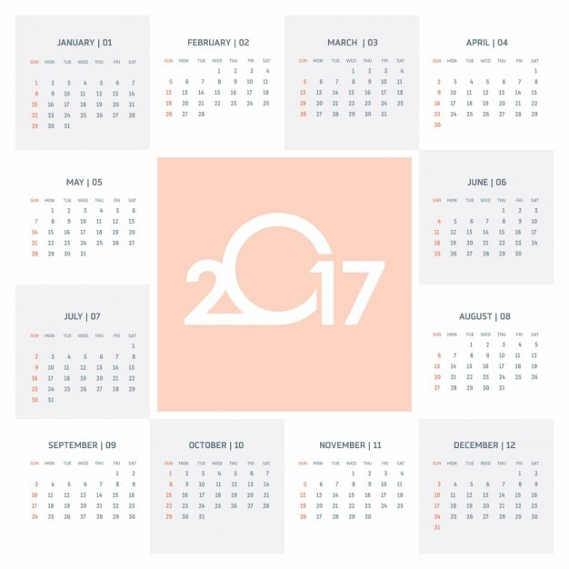 Cute Calendar 2017 Vector Free Download