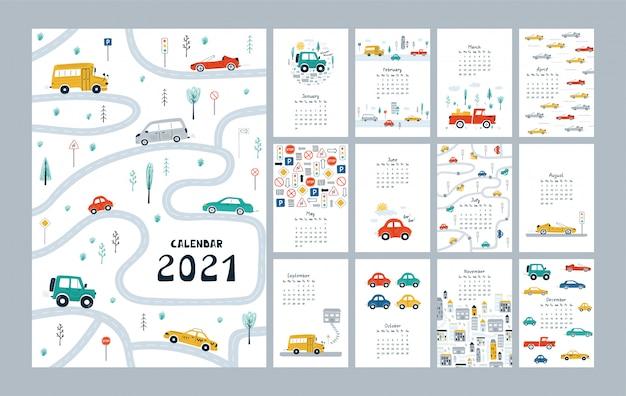 자동차, 도시, 도로지도가있는 귀여운 달력 2021. 유치한 플래너 템플릿 프리미엄 벡터