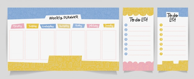 Cute calendar daily and weekly planner template. note paper, to do list set with linear school supplies illustrations Premium Vector