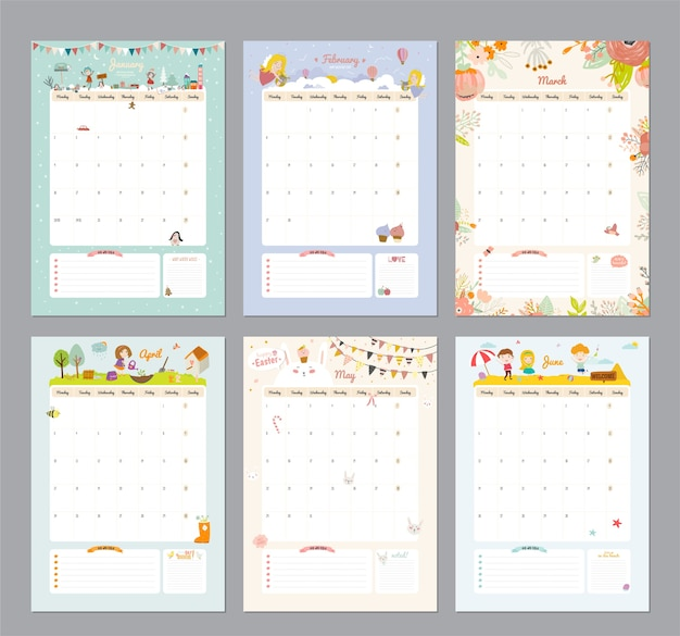Симпатичный шаблон календаря на 2021 год. годовой календарь-планировщик со всеми месяцами. хороший организатор Premium векторы
