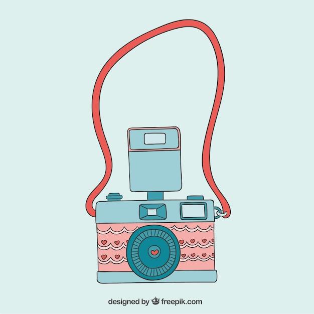 Cute camera in vintage style Premium Vector
