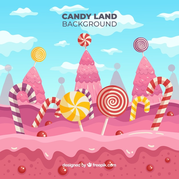 Cute candy landscape Free Vector