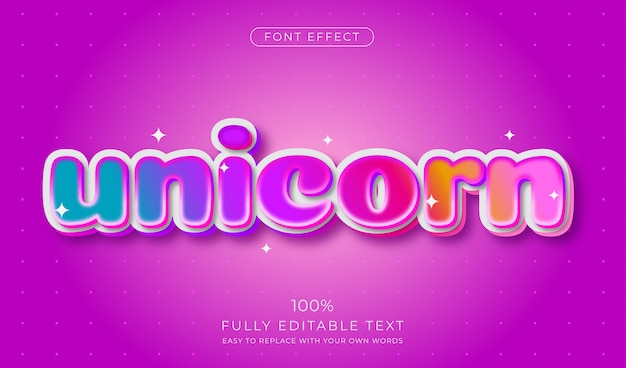 Cute candy rainbow text effect. editable font style Premium Vector