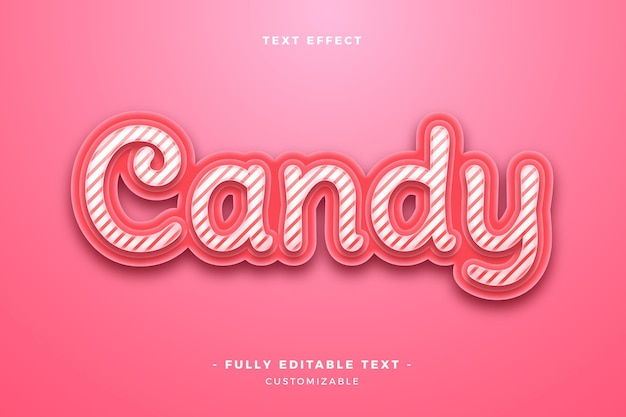 Cute candy text effect Free Vector