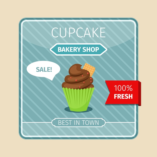Cute card brown cupcake with gaufre Premium Vector