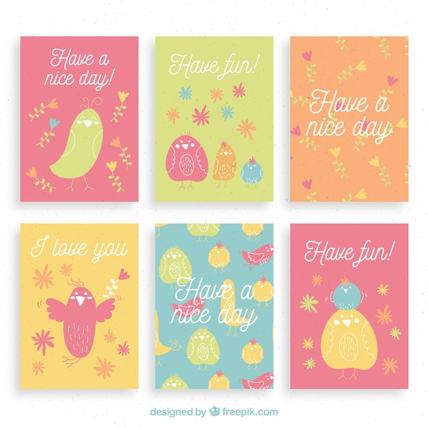 Cute card collection with colorful birds