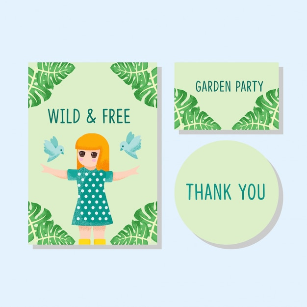 Cute card kids приглашение спасибо карты мальчик девочка рисованной Premium векторы