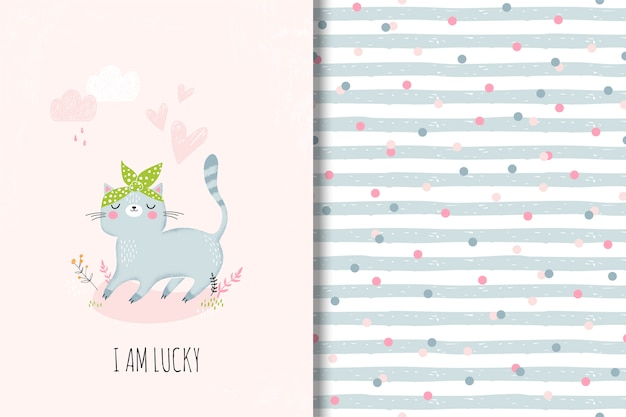 Cute card with cartoon cat and funny seamless pattern Premium Vector