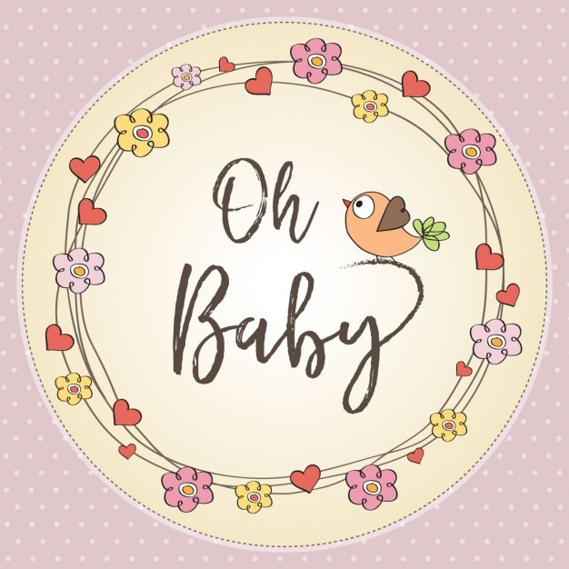 Cute card with flowers for baby shower Free Vector