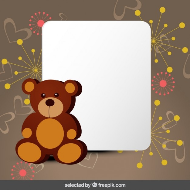 Cute card with teddy bear Vector | Free Download