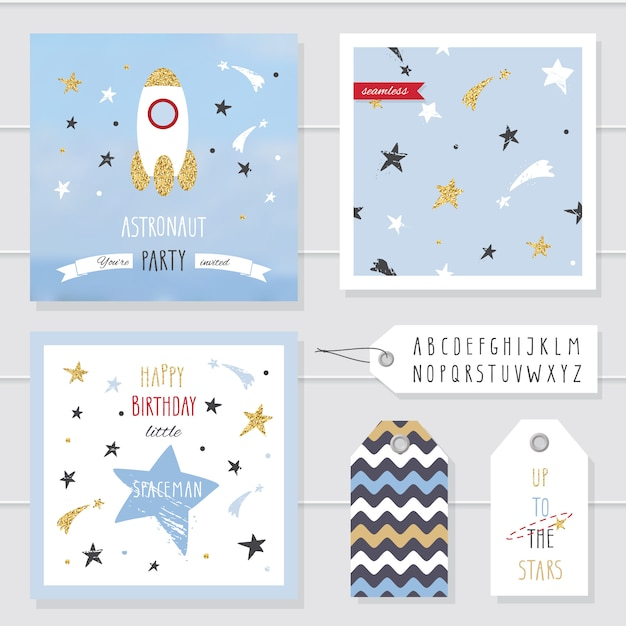 Cute cards and badges with gold confetti glitter for kids. Premium Vector