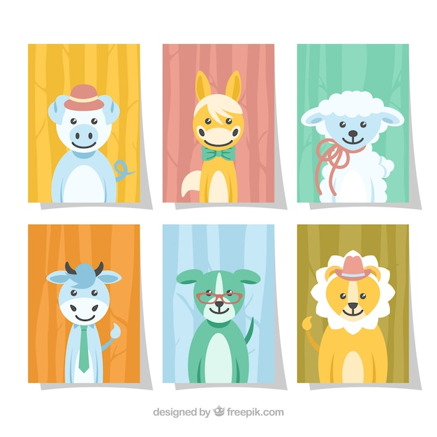 Cute cards collection with smiley baby animals