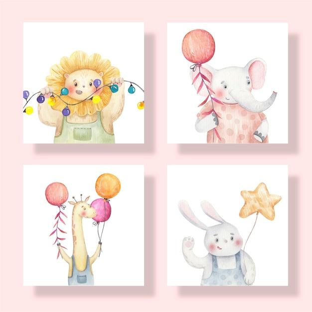 동물, 기린, 토끼, 사자, 코끼리와 함께 귀여운 카드는 그들의 손에 풍선을 들고, 귀여운 수채화 그림 프리미엄 벡터