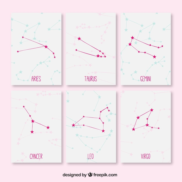 Cute cards with constellations Free Vector