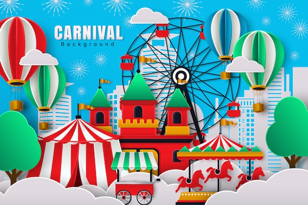 Cute carnival background with paper cut design style Premium Vector