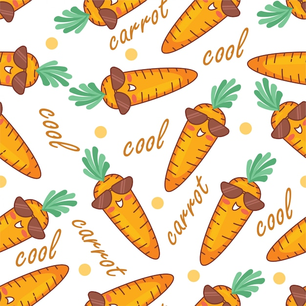 Cute carrot doodle cartoon seamless pattern Premium Vector