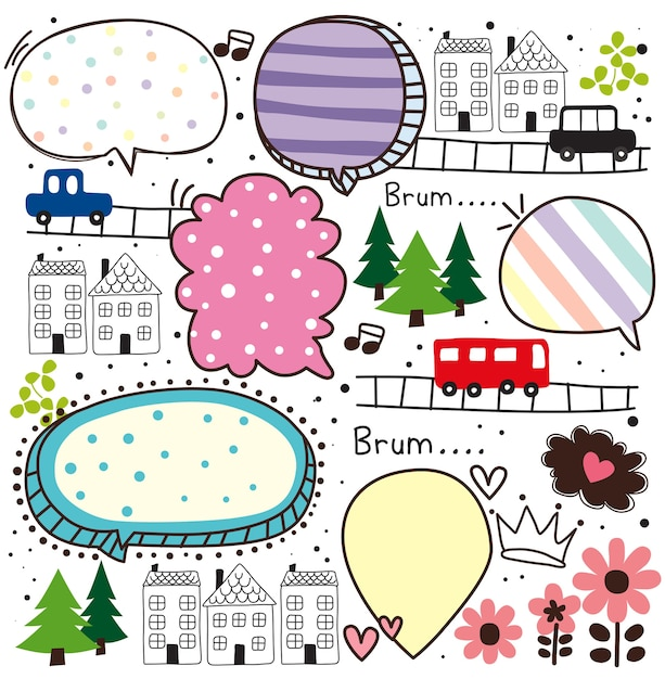 Cute cars and home doodle vector Premium Vector