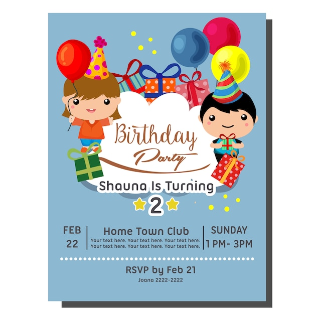 Cute Cartoon 2nd Birthday Party Invitation Card With Cute