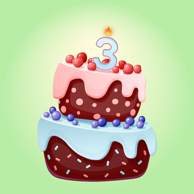 Miraculous Cute Cartoon 3 Year Birthday Festive Cake With Candle Number Three Personalised Birthday Cards Akebfashionlily Jamesorg