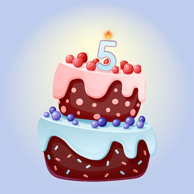 Premium Vector Cute Cartoon 5 Year Birthday Festive Cake With Candle Number Five