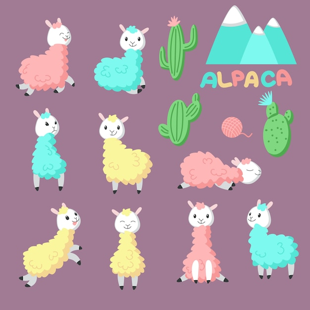 Cute cartoon alpaca icon set. vector hand drawn illustration of funny pink, yellow, blue llamas and cactuses for greeting card, invitation, baby shower card, poster, patch, sticker and print. Premium Vector