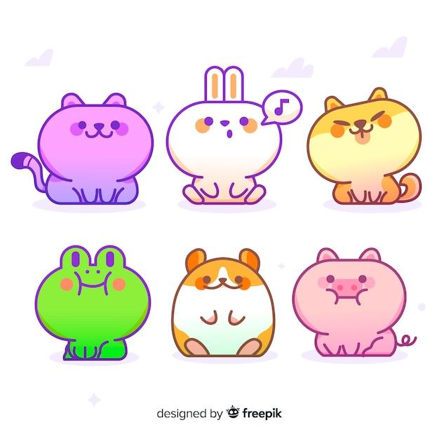 Cute cartoon animal collection Free Vector