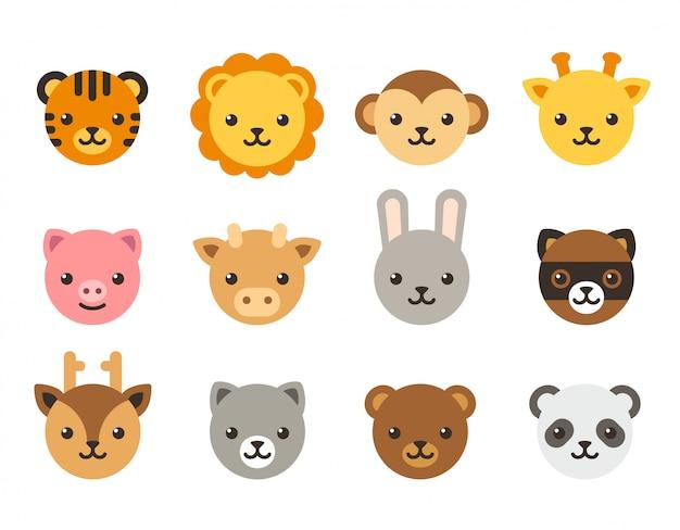 Cute cartoon animal faces collection Premium Vector
