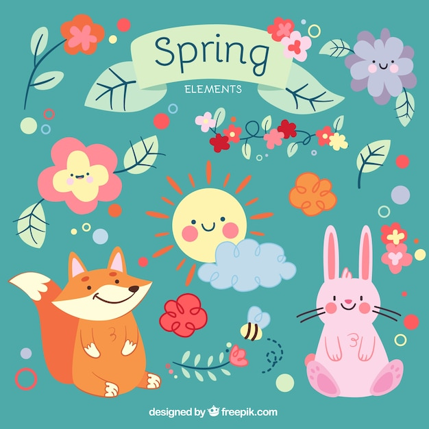 Cute cartoon animals and spring elements vector premium download cute cartoon animals and spring elements premium vector voltagebd Gallery
