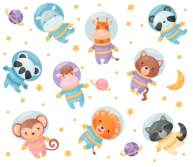 かわいい漫画の動物の宇宙飛行士。カバ、キリン、コアラ、パンダ、ライオン、猿タヌキ猫羊白い背景のイラスト Premiumベクター