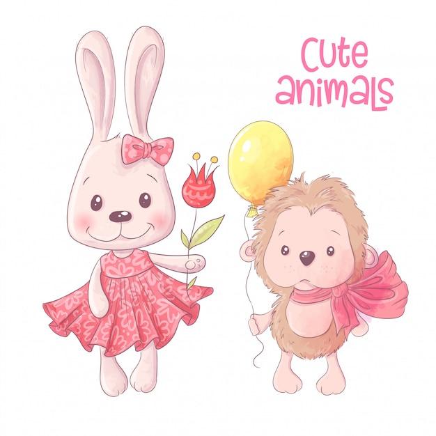Cute Cartoon Animals Hare And Hedgehog Hand Drawing Vector Vector